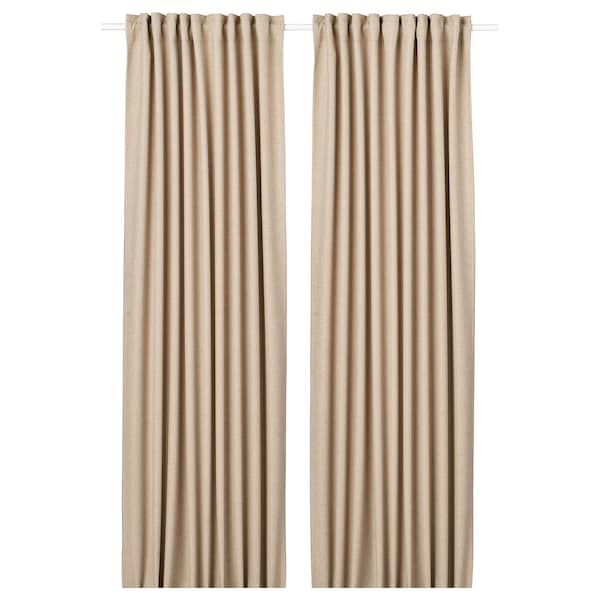 ANNAKAJSA room darkening curtains, 1 pair beige 250 cm 145 cm 3.36 kg 3.63 m² 2 pack