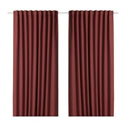 ANNAKAJSA room darkening curtains, 1 pair, brown-red