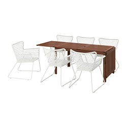ÄPPLARÖ /  HÖGSTEN table+6 chairs w armrests, outdoor, brown stained brown, white