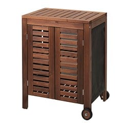 ÄPPLARÖ /  KLASEN storage cabinet, outdoor, brown stained