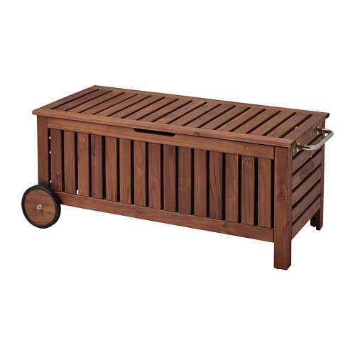 196 Pplar 214 Storage Bench Outdoor Brown Stained Brown Ikea
