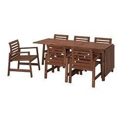 ÄPPLARÖ table+6 chairs w armrests, outdoor, brown stained brown