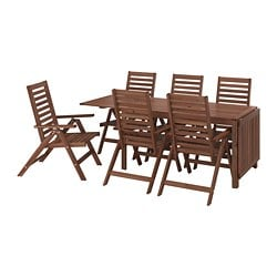 ÄPPLARÖ table+6 reclining chairs, outdoor, brown stained