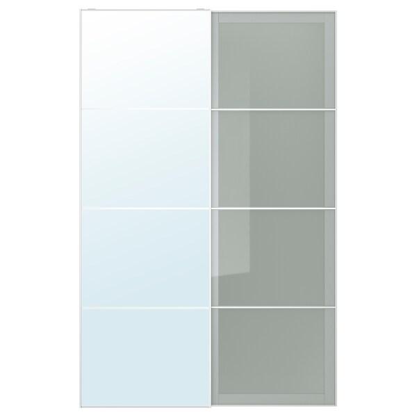 AULI / SEKKEN Pair of sliding doors, mirror glass/frosted glass, 150x236 cm