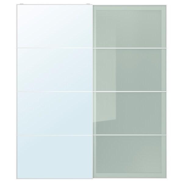 AULI / SEKKEN Pair of sliding doors, mirror glass/frosted glass, 200x236 cm