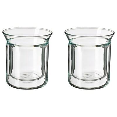 AVRUNDAD mug double-walled/clear glass 12 cm 15 cl 2 pack
