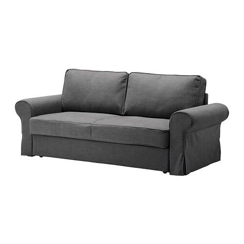 BACKABRO Three seat sofa bed cover Svanby grey IKEA