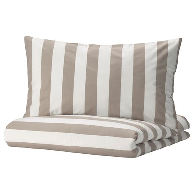 BÄRALM Quilt cover and pillowcase, white beige/stripe, 150x200/50x80 cm