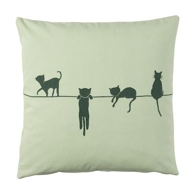 BARNDRÖM Cushion cover, cat pattern/green, 50x50 cm