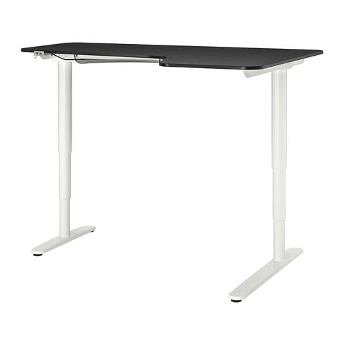 Bekant Corner Desk Right Sit Stand Black Stained Ash