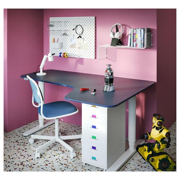 BEKANT corner desk right sit/stand linoleum blue/white 160 cm 110 cm 65 cm 125 cm 70 kg