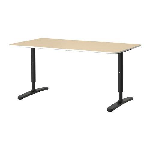 BEKANT Desk birch veneerblack IKEA