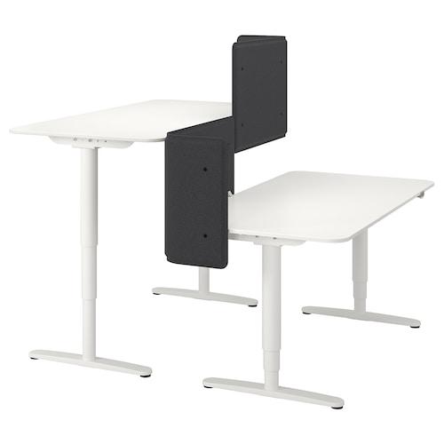 BEKANT desk sit/stand with screen white 55 cm 160 cm 160 cm 65 cm 125 cm 70 kg