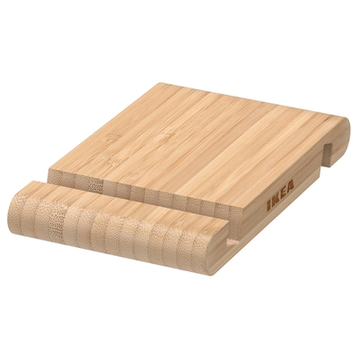 BERGENES Holder for mobile phone/tablet, bamboo