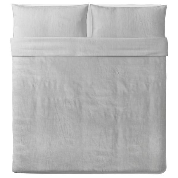 BERGPALM Duvet cover and 2 pillowcases, grey/stripe, 240x220/50x80 cm