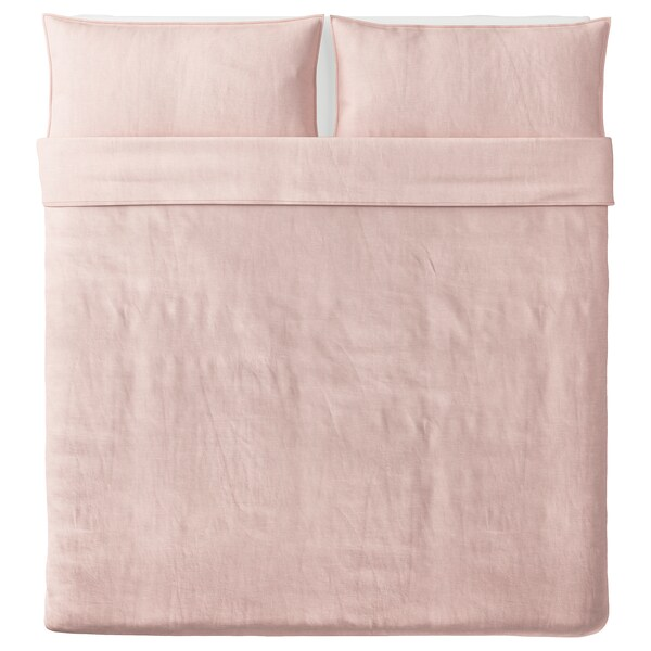 BERGPALM Duvet cover and 2 pillowcases, pink/stripe, 240x220/50x80 cm