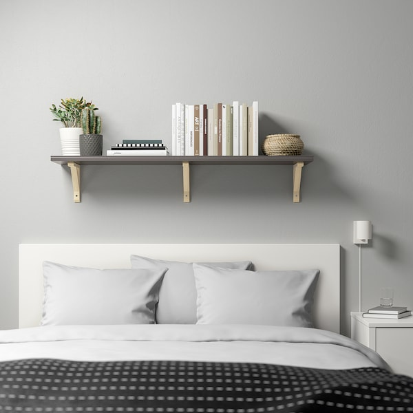BERGSHULT / SANDSHULT Wall shelf, dark grey/aspen, 120x30 cm