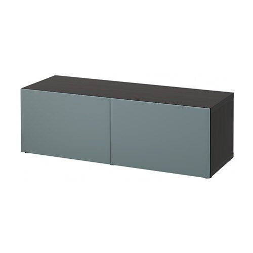 Bestå Shelf Unit With Doors Black Brown Valviken Grey Turquoise