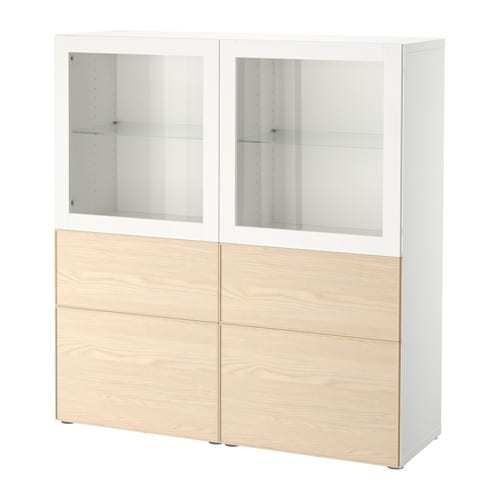 best storage combination w glass doors white inviken ash veneer drawer runner soft closing. Black Bedroom Furniture Sets. Home Design Ideas