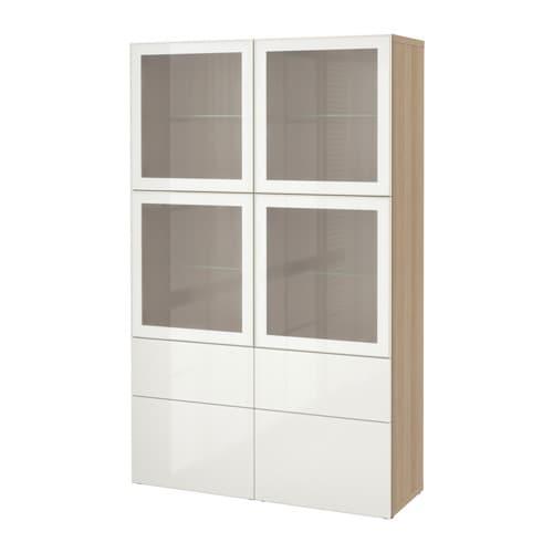 BESTÅ Storage bination w glass doors white stained