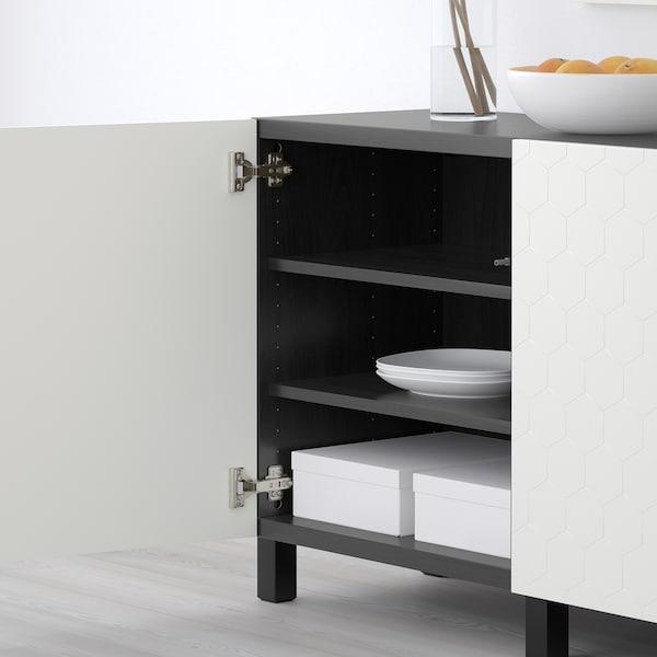 BESTÅ storage combination with doors black-brown/Vassviken/Stubbarp white 180 cm 40 cm 74 cm