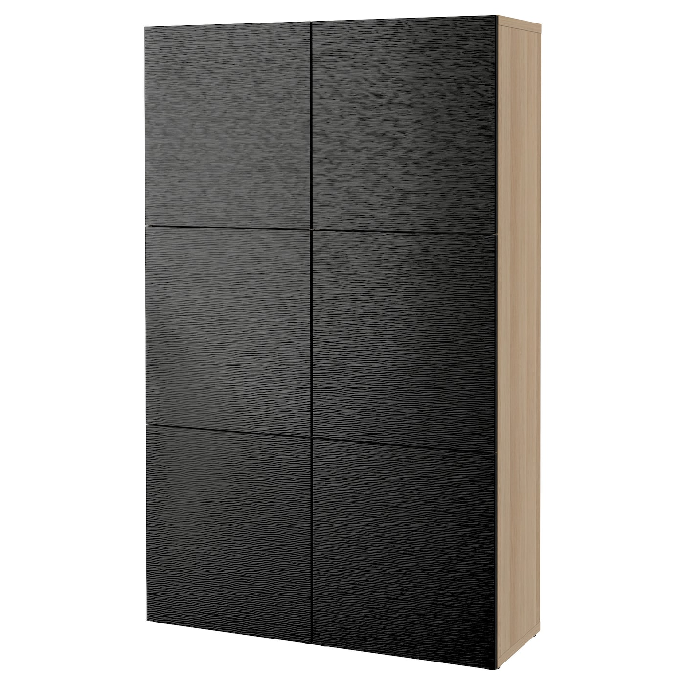 BESTÅ Storage combination with doors, white stained oak effect, Laxviken  black