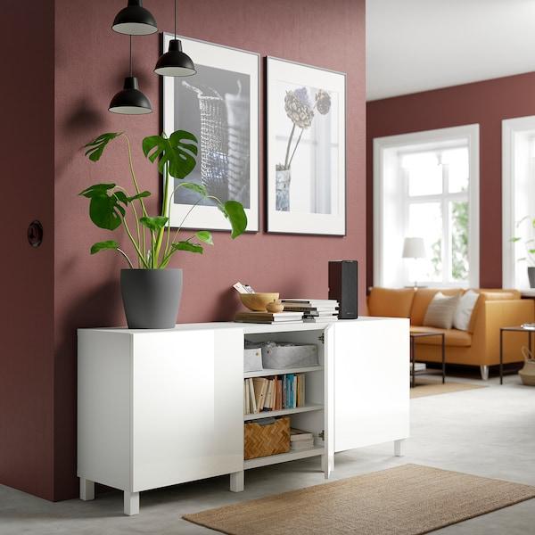BESTÅ Storage combination with doors, white/Selsviken/Stubbarp high-gloss/white, 180x42x74 cm