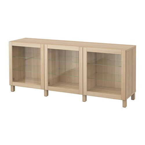 best storage combination with doors sindvik white stained oak clear glass ikea. Black Bedroom Furniture Sets. Home Design Ideas
