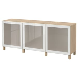 Colour: White stained oak effect/glassvik white frosted glass.