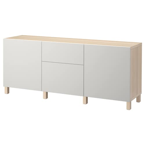 BESTÅ storage combination with drawers white stained oak effect/Lappviken light grey 180 cm 40 cm 74 cm