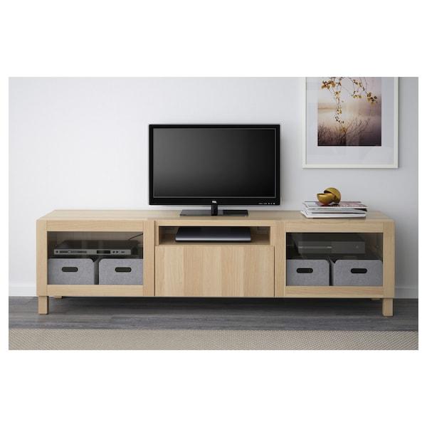 BESTÅ TV bench, Lappviken/Sindvik white stained oak eff clear glass, 180x42x48 cm
