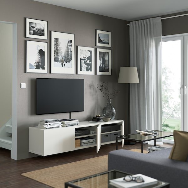 BESTÅ TV bench with doors, white/Lappviken white, 180x42x38 cm