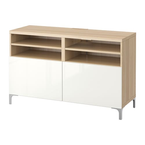 Best tv bench with doors white stained oak effect for Meuble tv 1m