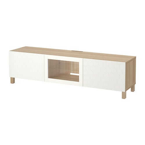 Best 197 Tv Bench With Drawers And Door White Stained Oak