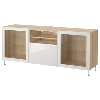 BESTÅ TV bench with drawers, white stained oak effect/Selsviken/Stallarp high-gloss/white clear glass, 180x42x74 cm