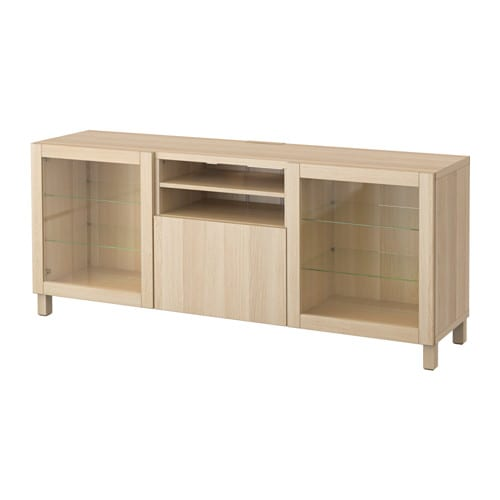 Best Tv Bench With Drawers Lappviken Sindvik White Stained Oak Eff Clear Glass Drawer Runner