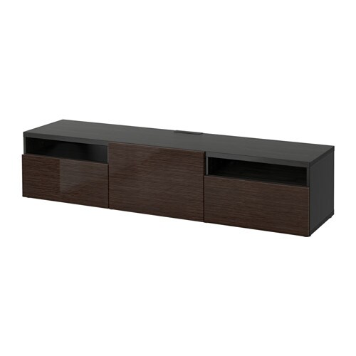 best tv bench black brown selsviken high gloss brown. Black Bedroom Furniture Sets. Home Design Ideas