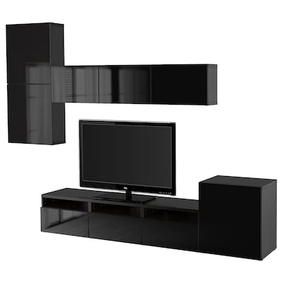 BESTÅ TV storage combination/glass doors, black-brown/Selsviken high-gloss/black smoked glass, 300x20/40x211 cm