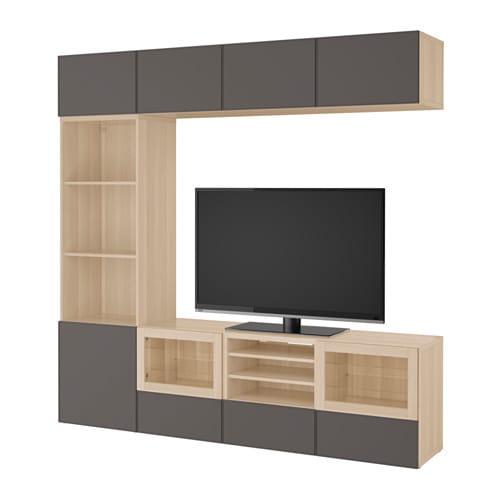 best tv storage combination glass doors white stained oak effect grundsviken dark grey clear. Black Bedroom Furniture Sets. Home Design Ideas