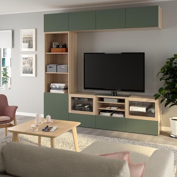 BESTÅ TV storage combination/glass doors, white stained oak effect/Notviken grey-green clear glass, 240x42x230 cm