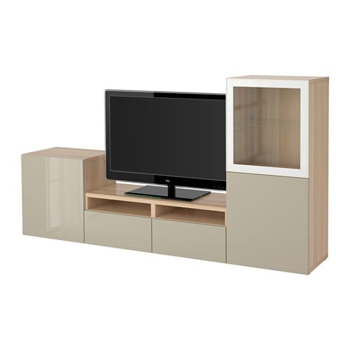 Tinted Glass Cabinet Doors Ikea ~ BESTÅ TV storage combination glass doors  white stained oak effect