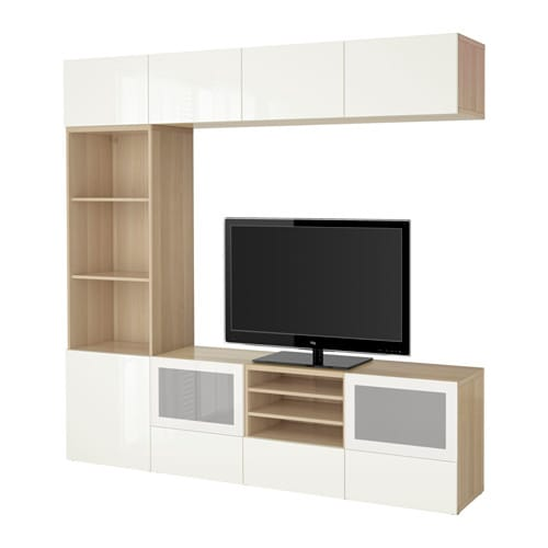 Best 197 Tv Storage Combination Glass Doors White Stained