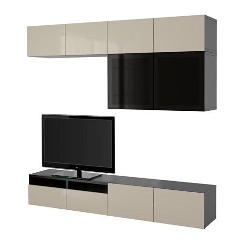 ... high-gloss/beige smoked glass, drawer runner, soft-closing - IKEA
