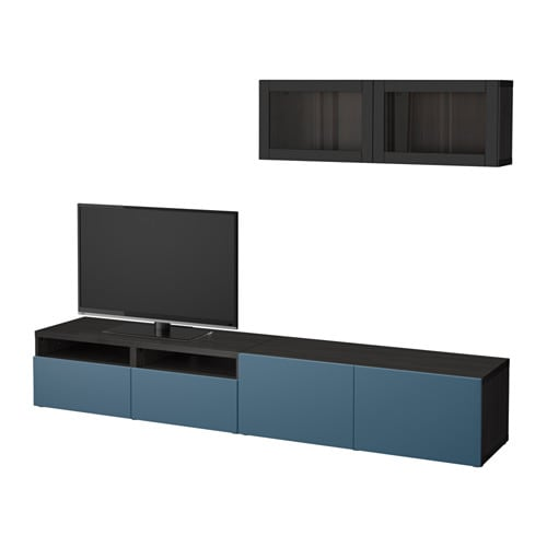 best tv storage combination glass doors black brown valviken dark blue clear glass drawer. Black Bedroom Furniture Sets. Home Design Ideas