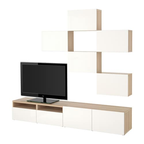 best tv storage combination white stained oak effect selsviken high gloss white drawer. Black Bedroom Furniture Sets. Home Design Ideas
