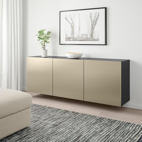 BESTÅ wall-mounted cabinet combination black-brown/Riksviken light bronze effect 180 cm 42 cm 64 cm