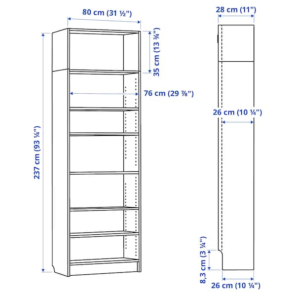 BILLY Bookcase, brown ash veneer, 80x28x237 cm