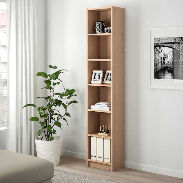 BILLY Bookcase, white stained oak veneer, 40x28x202 cm