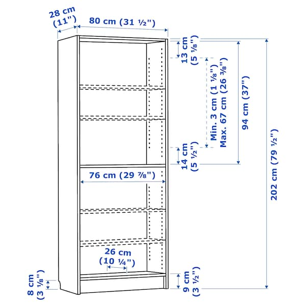 BILLY Bookcase, white, 80x28x202 cm