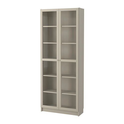 billy bookcase with glass-doors - beige - ikea,